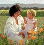 Mother and child in poppy field